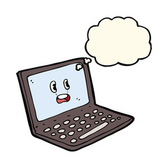 cartoon laptop computer with thought bubble