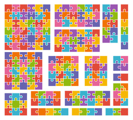 Parts of puzzles on white background in colored colors. Set of p