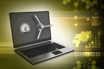 Laptop computer with lock for protection in color background