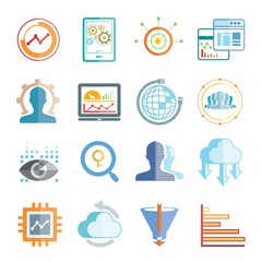 network and analytics icons