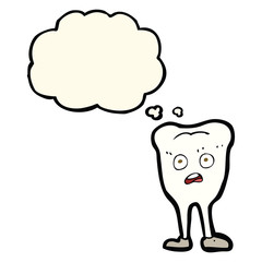 cartoon yellowing  tooth with thought bubble
