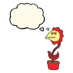 cartoon monster flower with thought bubble