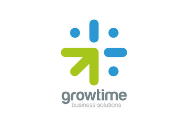 Grow Arrow Clock Logo concept design vector. Time is money