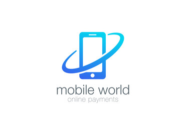 Smartphone Logo design Global theme vector icon