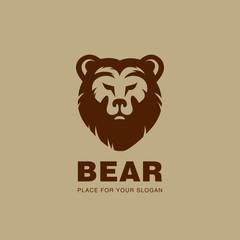Bear head Logo design vector silhouette. Stock exchange, Hunt
