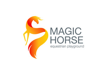 Fairy Horse Logo design vector. Equestrian Logotype