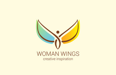 Flying Woman with Wings Logo abstract design vector Fashion