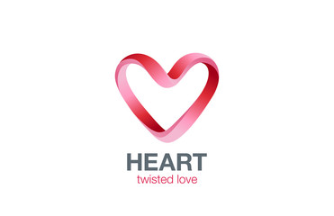 Heart shape Ribbon Logo design vector. St. Valentine day
