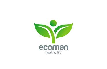 Green Plant Abstract Logo natural Farm Organic Eco design