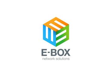 Box Logo Abstract Business Technology design E vector