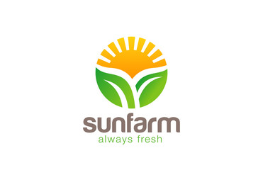 Sun over Plant Logo Farm circle shape design vecotr