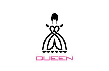 Queen Logo design vector. Beauty Fashion logotype