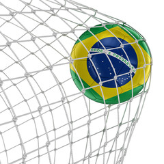 Brazil soccerball in net. Image with clipping path