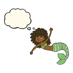 cartoon pretty mermaid waving with thought bubble
