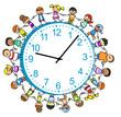Viele Kinder um eine Uhr herum