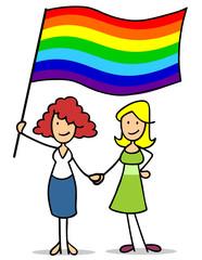 Lesbisches Paar Frauen hält Regenbogenfahne
