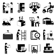 shipping and warehouse management icons