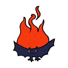 cartoon flaming halloween bat