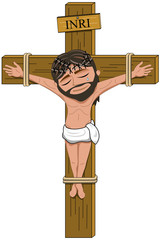 Suffering Jesus crucifix on the cross isolated