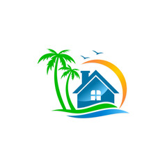 house vila palm tree beach travel logo
