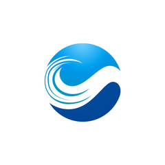 round wave water beach abstract logo