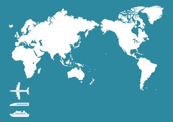 飛行機 新幹線 船 世界地図(日本中心)