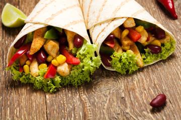 Burritos wraps with chicken