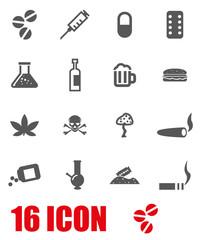 Vector grey drugs  icon set