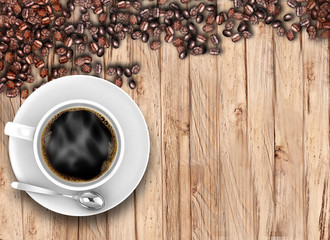 Coffee cup with beans on wood