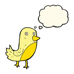 cartoon yellow bird with thought bubble