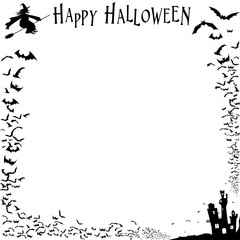 Halloween Frame with a flock of bats, a flying witch and a dark castle. black and white, vector illustration.