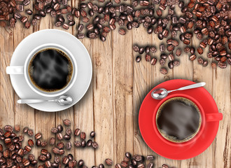 White and red coffee cup with beans on wooden
