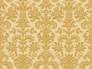 Vector seamless floral damask pattern beige