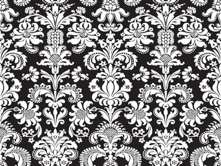 Vector seamless floral damask pattern black and white