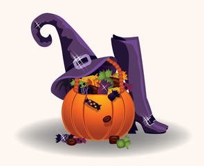 Halloween pumpkin with witch hat and boots, vector illustration