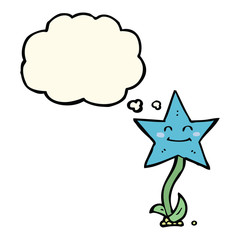 cartoon star flower with thought bubble