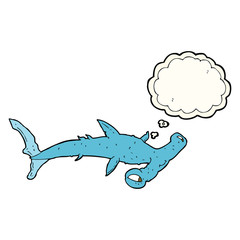 cartoon hammerhead shark with thought bubble