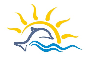 Logo with a dolphin.