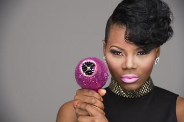 Pink Hair Dryer African American Woman