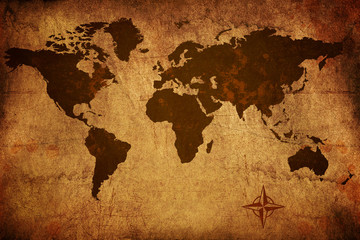 Worn grungy old world map