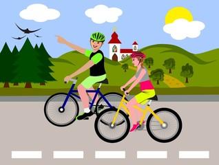 A couple on a bike trip