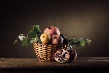 Fruit in a basket still life