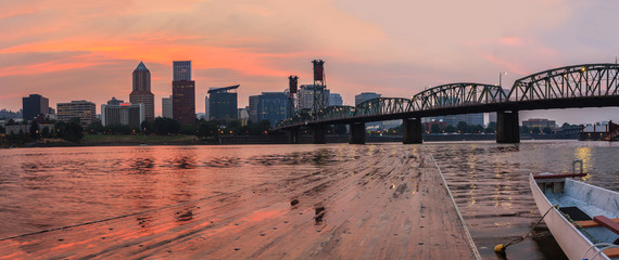 Fototapete - Sunset in Portland Oregon