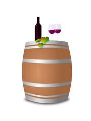 Weinprobe - Rotwein mit Deko auf Holzfass