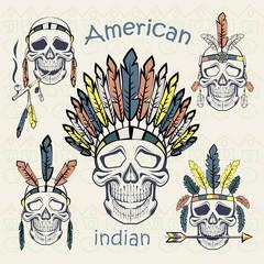 Indians set skulls with different headdresses ethnic