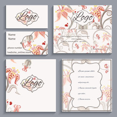 Set of corporate ornament identity, business cards, flyers, menu