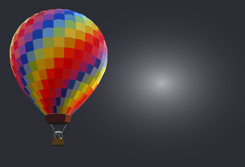 Colorful hot air balloons against gray background with space for text.