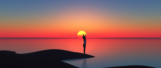 3D female standing against the sun setting by the sea