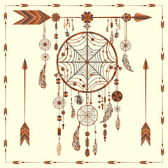 Dream Catcher arrows, beads, ethnic Indian, feathers, circles