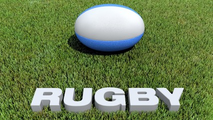 rugby texte 3D and ball on grass